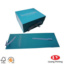 Paper folding cardboard gift box with ribbon