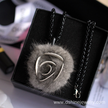 Rose Shape Fur POM POM Necklace Long Chain Necklace For Lady