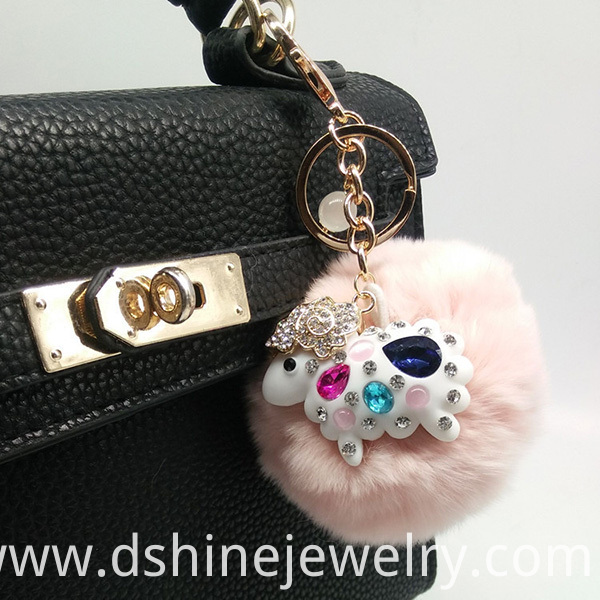 Rabbit Fur Pom Ball Crystal Pendant Keychain