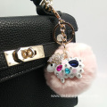 Colored Genuine Rabbit Fur Pom Ball Crystal Pendant Keychain
