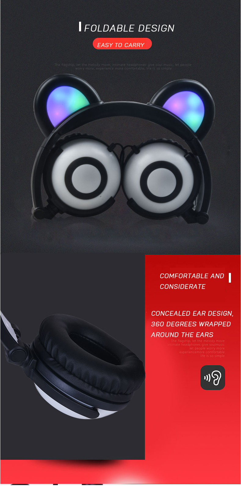 Kids Foldable LED Light Panda Ear Wired Headphones