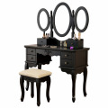 Vanity Table Set Tri-folding Mirror Makeup Dressing Table with Padded Stool & 6 Drawers,Black