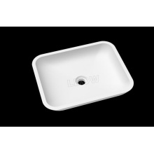 ODM for Freestanding Square Washbasin Pure acrylic rectangle countertop basin for bathroom supply to Kyrgyzstan Supplier