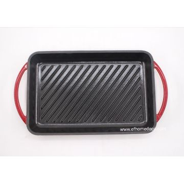 Enamel cast iron griddle red