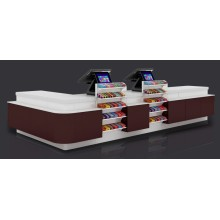ODM for Offer Supermarket Checkout Counter,Retail Checkout Counter,Cash Counter From China Manufacturer Good Design Double Countertops Checkout Counter supply to Papua New Guinea Wholesale