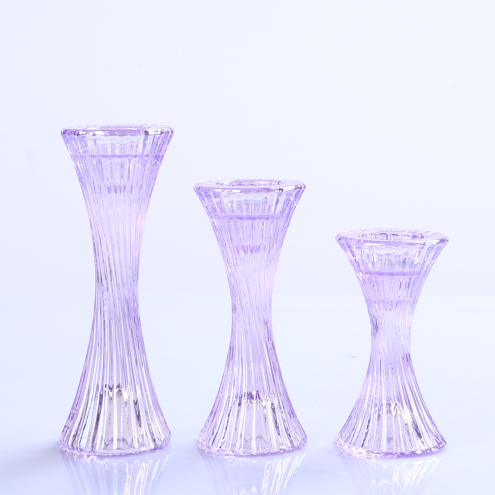 Set of 3 Crystal Glass Pillar and Taper Candle holder