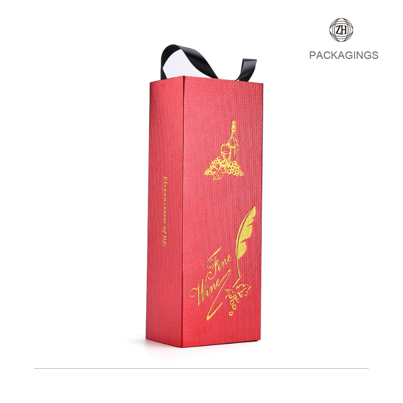 Luxury red wine bottle gift paper box