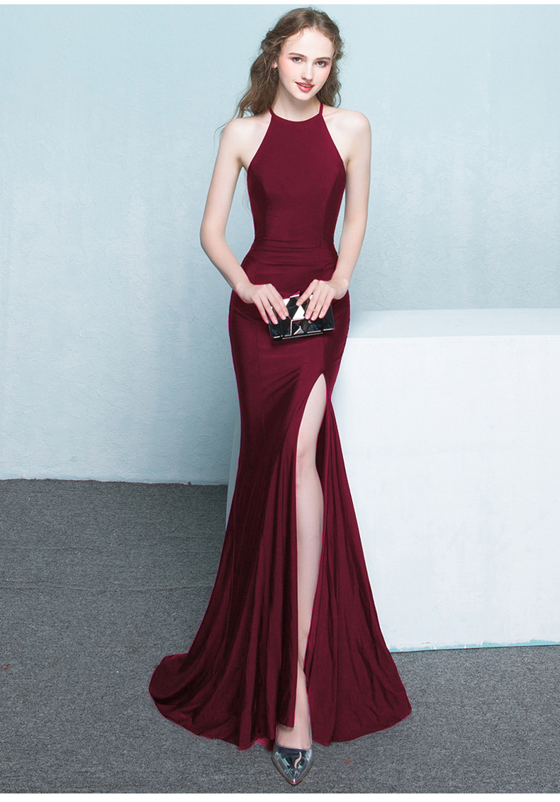 Bridal toast 2017 new fashion long paragraph red fish tail hanging neck wedding party evening dress even