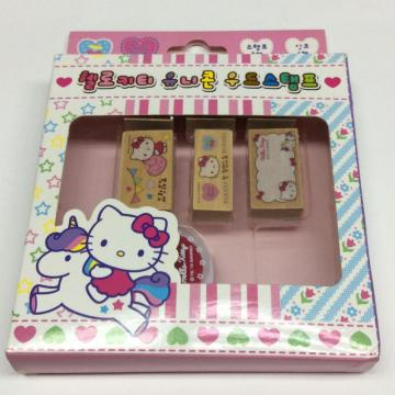Wooden cute cartoon stamp set