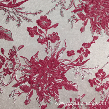 Pink Silver Poly Paisley Jacquard Fabric