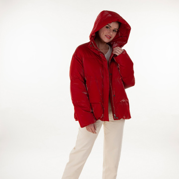 Red hooded normal down jacket