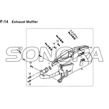 F-14 Exhaust Muffler JET 14 XS175T-2 For SYM Spare Part Top Quality