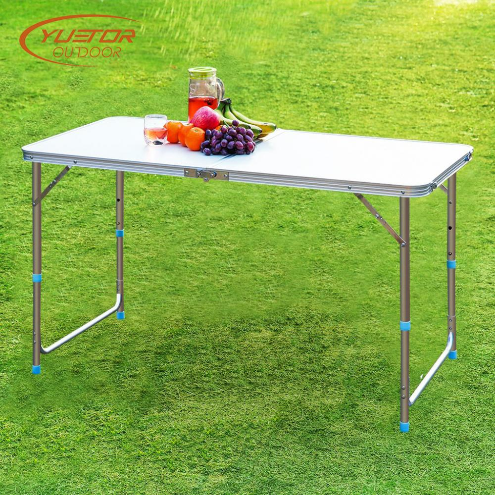 Portable And Adjustable White Aluminum Folding Event Table With 4 Foot 5