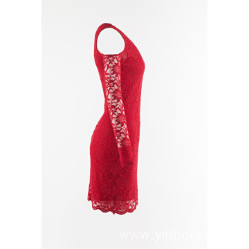 Red lace dress with off shoulder