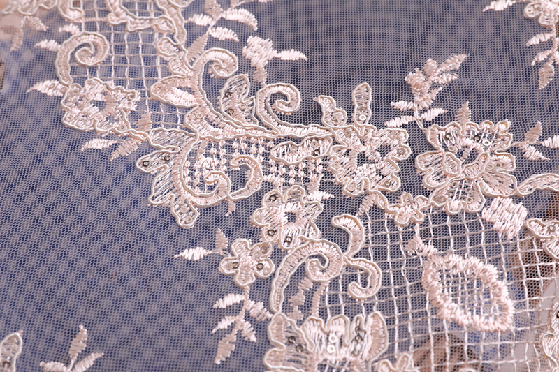 Cord Embroidery Fabric With Scallop
