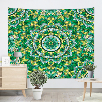Bohemian Tapestry Mandala Wall Hanging Indian Hippie Boho Psychedelic Tapestry for Livingroom Bedroom Home Dorm Decor Yellow and