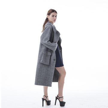 Trend haze grey big pocket cashmere coat
