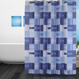 Shower Curtain PEVA Navy Square