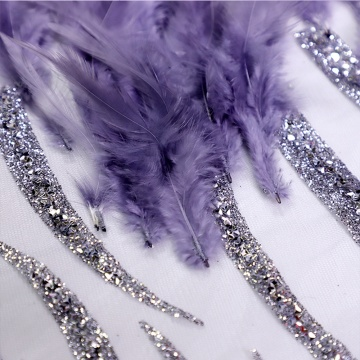 Purple Handmade Feather Embroidery Fabric