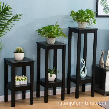 Antique black/White wood plant stand wooden shelves for flowers