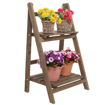 Rustic Brown Wood Design 2 Tier Freestanding Foldable  Flower Shelf Rack Decorative Planter Pot Display Stand