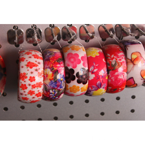Fashion Flower Printed Ladies Fancy Wide Acrylic Bangles