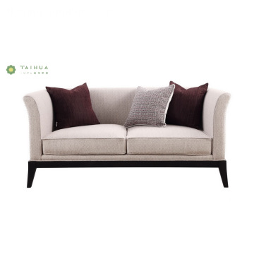 Tela Dalawang Seater Sofa Na May Solid Wood Leg
