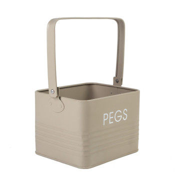 Pegs Accessories Storage Tin Box With Carrying Handle