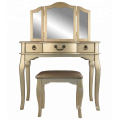 Tri-Fold Mirror Champagne color Vanity Table with Stool Set