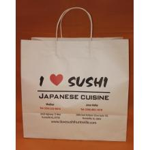 Custom White Kraft Handle Shopping Bag