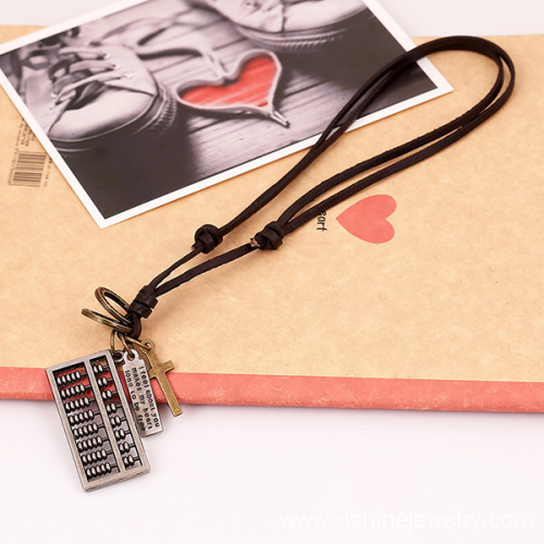 Cow Leather Rope Cord Necklace With Cross Charms For Men