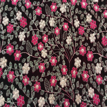 Multicolor Flower Embroidery Fabric On Velvet Ground
