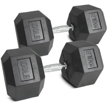 Manufacturer of for Rubber Dumbbells 100LB Black Rubber Hex Dumbbell export to Iran (Islamic Republic of) Supplier
