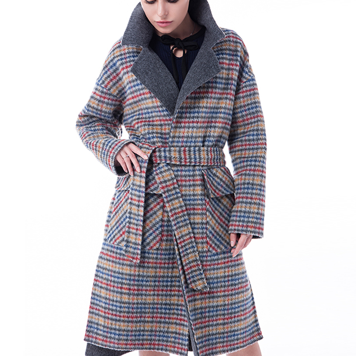Vogue Coloured Checked Cashmere Winter Coat