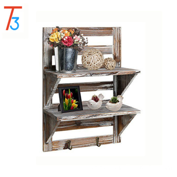 rustic wood wall organizer shelves storage spice rack with 2 hooks