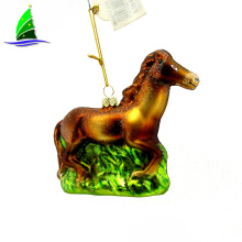 Hanging Xmas Glass Running Horse Ornament