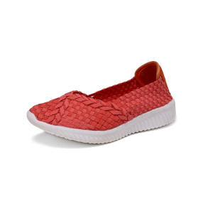 Red Ballet Flats Woven Shoes