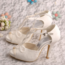 White Lace Heels for Wedding Sandals