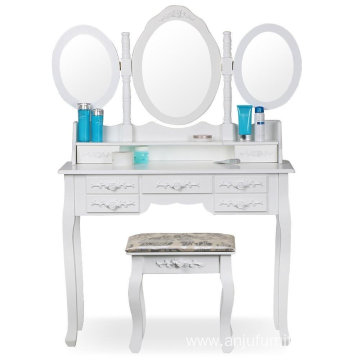 Shabby Chic White Dressing Table with 3 Oval Mirror and Stool Bedroom Sets 7 Storage Drawers Make Up Desk