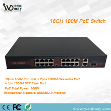 16chs single fiber port POE switch