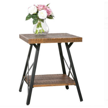 Wooden Side Tea Table Furniture With Metal Frame