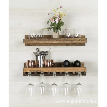 Rustic Wall Mounted Wine Glass Rack