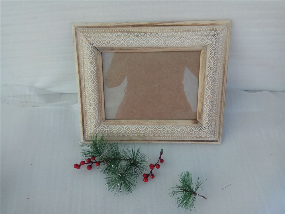 wooden photo frame with shelves