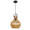 Glass color amber indoor handing pendant lamp