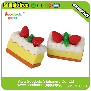 novelty strawberry cake eraser stationery items for schools