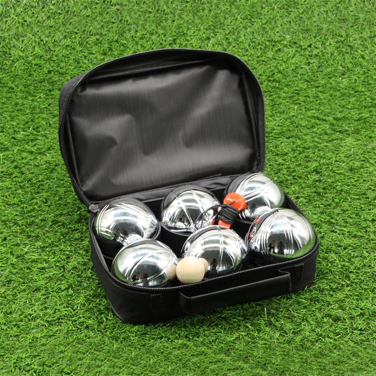 Cooperative 6 Ball 73mm Metal Boules De Petanque Set With 3 Black Balls And 3 Silver Balls Sporting Goods Backyard Games