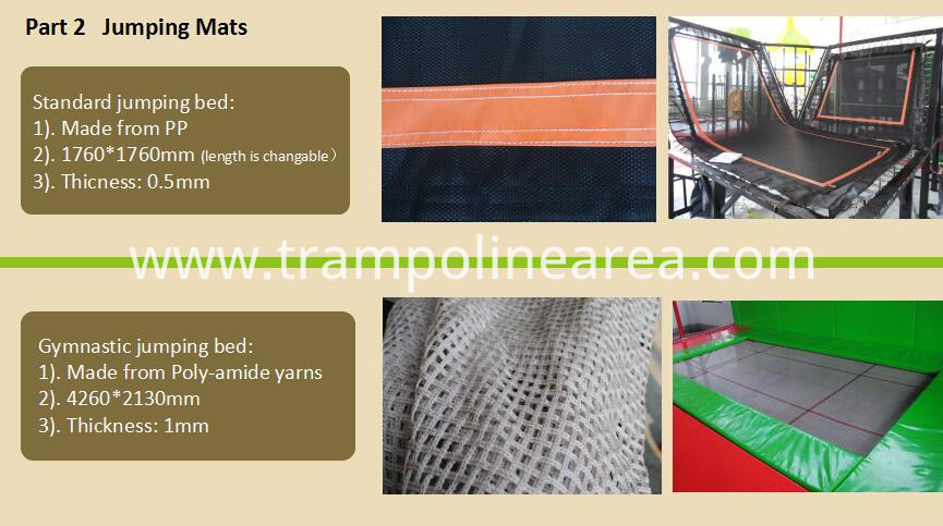 Jumping mats of outdoor trampoline