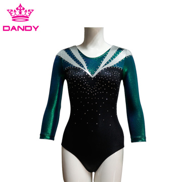 Charming mesh lining dance gymnastics leotard