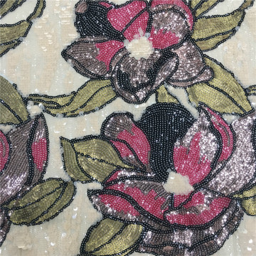 Amazing Sequin Flower Embroidery Fabric For Chrismas