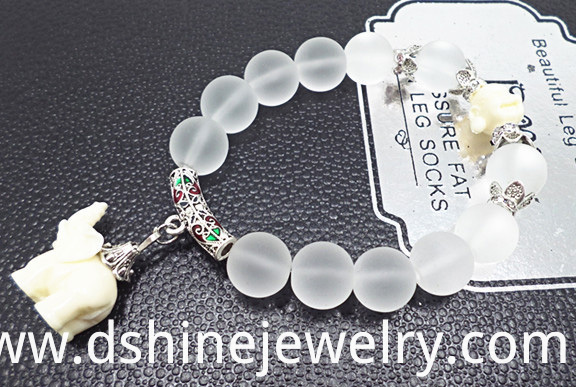 Crystal Beads Bracelet With Elephant Pendant